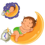 Vector baby in a diaper is sleeping on the moon. Vector clip art art illustration baby in a diaper is sleeping on the moon. Print, template, design element vector illustration
