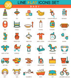 Vector baby flat line icon set. Modern elegant style design  for web. Stock Images