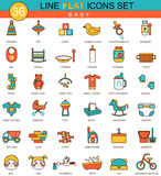 Vector baby flat line icon set. Modern elegant style design  for web. Royalty Free Stock Photography