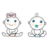 Vector of baby girl and baby boy Royalty Free Stock Photo
