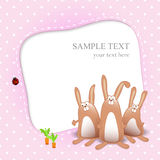 Vector Baby Girl Card With Cartoon Rabbits Royalty Free Stock Images