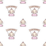 Vector baby girl with love Mommy and Daddy posters Royalty Free Stock Photography