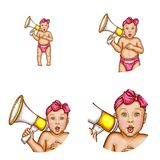 Vector baby girl with megaphone avatar icons royalty free illustration
