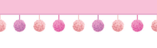 Vector Baby Girl Pink Decorative Pompoms With Ropes Horizontal Seamless Repeat Border Pattern. Great for nursery room Stock Photos
