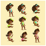 Vector baby girl portrait collection isolated. Royalty Free Stock Photography