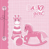 Vector baby girl scrapbook. With pyramid, horse and ball Stock Photos