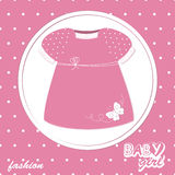 Vector baby girl scrapbook arrival card. With stylish dress Stock Photography