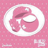 Vector baby girl scrapbook arrival card. With hat, handbag and gloves Stock Photos