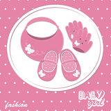 Vector baby girl scrapbook arrival card Stock Photos