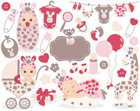 Vector Baby Girl Set with Giraffe Pattern. Vector Baby Girl. Stock Images