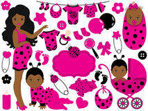 Vector Baby Girl Set with Ladybug Pattern. Vector African American Baby Girl. Vector cute baby girl set with ladybug pattern, includes African American pregnant Stock Photos
