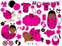 Vector Baby Girl Set with Ladybug Pattern. Vector African American Baby Girl. Stock Images