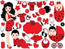 Vector Baby Girl Set with Ladybug Pattern. Vector Baby Girl. Vector Baby Shower. Royalty Free Stock Image
