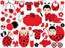 Vector Baby Girl Set with Ladybug Pattern. Vector Baby Girl. Vector Baby Shower. Royalty Free Stock Photography
