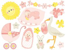 Vector Set for Baby Girl Set Shower Stock Images