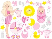 Vector Set for Baby Girl Shower vector illustration