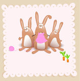 Vector baby girl shower card. With rabbits Royalty Free Stock Photography