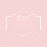 Vector Baby girl shower card. Arrival card with place for your text Stock Images