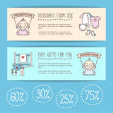 Vector baby goods sale posters. Kids store Stock Image