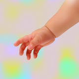 Vector baby hand. Realistic baby hand on a light background Royalty Free Stock Photo