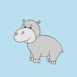 Vector baby hippo. Cartoon illustration Royalty Free Stock Photo