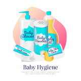 Vector baby hygiene illustration. Newborn accessories in cartoon style. Vector baby hygiene goods illustration. Newborn accessories in cartoon style. Shampoo vector illustration