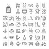 Vector baby kids elements linear icon set Royalty Free Stock Photos