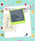 Vector baby scrapbook card with photo frame. And text Royalty Free Stock Photography