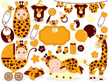 Vector Baby Set with Giraffe Pattern. Baby Shower Vector Illustration. Stock Photo