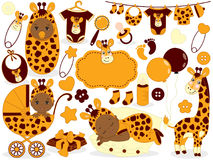Vector Baby Set with Giraffe Pattern. Vector Baby Shower. Royalty Free Stock Photography