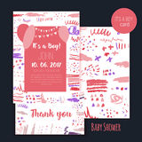 Vector baby shower brush card set. It`s a boy. Lettering design. Element for invitation . Stock Photography