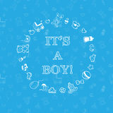 Vector baby shower design over blue background Royalty Free Stock Photos