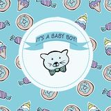 Vector Baby Shower Greeting Card. Text It`s A Baby Boy. Little K Royalty Free Stock Photos