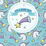 Vector Baby Shower Greeting Card. Text It`s A Baby Boy. Unicorns Stock Photo