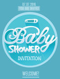 Vector baby Shower Invitation for Boy. Blue Color.  Royalty Free Stock Image