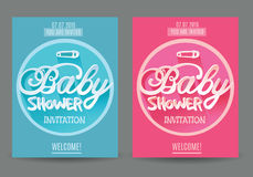 Vector baby Shower  Invitation for Boy and Girl . Blue and Pink.  on Grey Background Stock Photos
