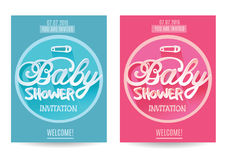 Vector baby Shower  Invitation for Boy and Girl . Blue and Pink. Isolated on White Background Royalty Free Stock Photo