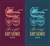 Vector baby shower invitation with pram illustration. Reveal the gender baby gifts invite concept. Poster with buggy. Vector baby shower invitation with pram Stock Photography