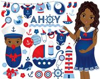 Vector Baby Shower Set with Pregnant Woman and Baby in Nautical royalty free illustration