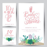 Vector baby shower sticker with succulents. Stock Image