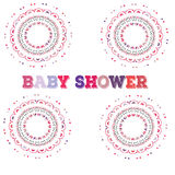 Vector baby shower. Symmetry circle shape child decoration. or birthday invitation template. Vector baby shower. Symmetry circle shape child decoration. Baby Royalty Free Stock Photo