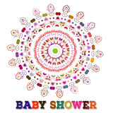 Vector baby shower. Symmetry circle shape child decoration. or birthday invitation template. Vector baby shower. Symmetry circle shape child decoration. Baby Stock Image
