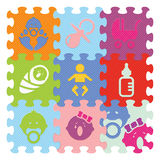 Vector baby signs made with puzzle Royalty Free Stock Photo