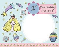 Vector baby 1-th Birthday party greeting card.  Candies, donuts,. Ice cream, cup cakes, little princess, rainbow, comet, stars. Stickers Royalty Free Stock Photos