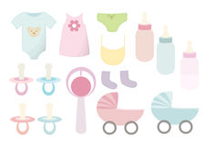 Vector baby things. Baby clothes and equipment like rattle, bottles etc royalty free illustration