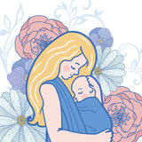 Vector Babywearing Illustration With Mother Hugging Baby In a Sling. Stock Photos