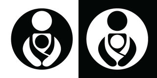 Vector Babywearing Symbols Set With Parent Carrying Baby In a Sling. Black and White Icon Style. Stock Photos