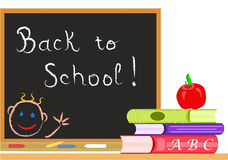 Vector Back to School. Back to school in September with blackboard and books. Vector file  saved as EPS AI8 also available Royalty Free Stock Images