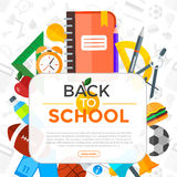 Vector Back To School background with education icons. Education. Education object in flat style Stock Photo