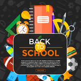 Vector Back To School background with education icons. Education. Education object in flat style on dark Stock Photo